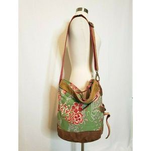 Lucky Brand Large Tote Bag Canvas and Suede Purse
